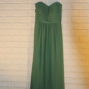 Green Raunched Bodice Strapless Formal Dress